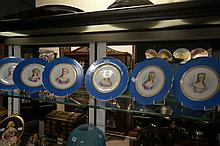 Set 6 C19th French h/painted portrait plates of C18th Ladies