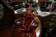 2 1960's red art glass vases