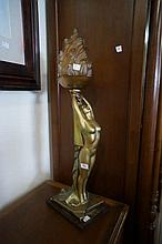 1920's Art Deco plaster figured table lamp