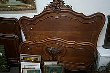 Antique French Louis XV style carved oak double bed & rails