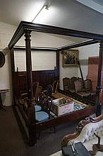 Mah king size 4 poster bed with carved posts