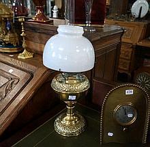 Antique brass miller kero lamp with milk glass shade