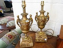 Pr mid C20th gilt brass & onyx table lamps