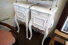 Pr French painted bedside cabinets