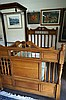 Late Vic carved oak double bed & rails