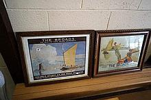2 1920's framed advertising British Rail Norfolk