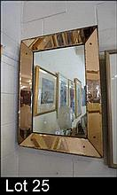 Deco wall mirror with peach glass surround