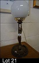 Art Deco brass diana lamp