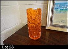 Whitefriars tangerine glass bsrk vase
