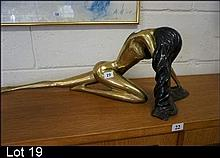 Deco style brass nude figure of waoman with long