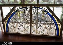 Large semi circular arched h/painted leadlight