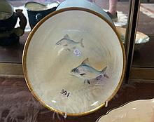 R/Doulton h/painted fish plate retailed by Tiffany & Co signed C.Hart