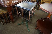 Unusual antique wrought iron & copper revolving bookcase