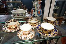 3 R/Crown Derby imari cups & saucers, 1 a/f & pr Vic Derby gilt & blue cups