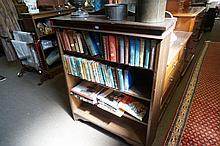 Hardwood open bookshelves