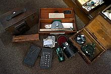 Assorted antique & later instruments inc Clinometer, some in boxes