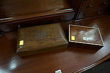 Amboiner & ivory inlaid box & carved walnut box