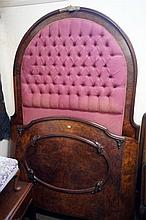 Vic burr walnut queen size bed & rails with hight raised padded back & curv