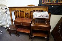 2 bedside cabinets, 2 bed heads, stool & box