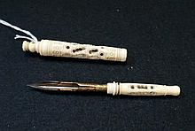 Vic carved bone screw out fountain pen