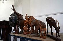 5 carved wooden African animals inc Elephants