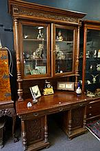 C19th French carved oak pedestal desk with bookcase top