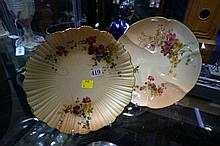 2 R/worcester blush ivory plates, c1898 & 1912