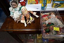 Vintage automaton toy, bisque doll & celluloid mini dolls