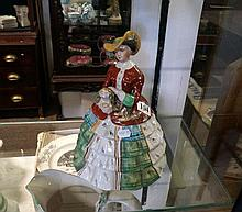 Staffordshire h/painted crinoline lady lidded jar