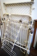 2 Vic cast iron single beds with rails & cast iron cot