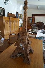 Large ornate fretwork Eiffel Tower lamp clock