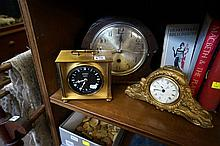 1930's oak clock & 2 others