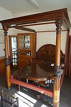 C19th flame mah queen size 4 poster bed