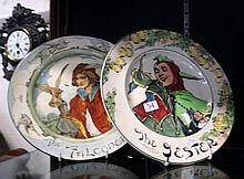 2 R/Doulton rack plates, The Jester & The Falconer