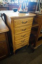 French oak tall narrow 5 drawer chest