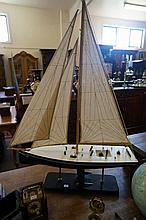Wooden model of sailing yacht
