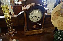Edw inlaid mah mantle clock with pillars & white enamel dial
