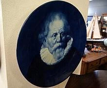 Large antique Delpht blue & white Rembrandt wall charger