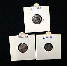 3 Edward I or II silver hammered pennies