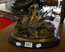 C19th bronze figured inkstand of boy crossing bridge carrying wheat sheaf