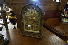 Early C20th oak dome top mantle clock