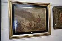 Large C19th hand coloured print of peasant family