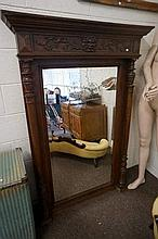 Large C19th French carved oak overmantle mirror