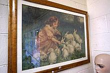 Vic birdseye maple framed Pears print of girl with