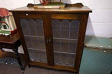 1920's leadlight 2 door cabinet