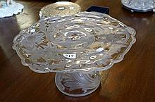 Early 20th Century etched & frosted glass thistle design glass cake stand s