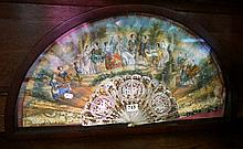 19th Century continental fan painted with /c16th wedding scene, reverse pai