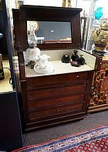 19th Century French rosewood 4 drawer lift top washstand