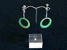 Pr 1930's jade earrings