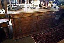Unusual large 19th Century French oak cupboard with faux drawer front & 2 u